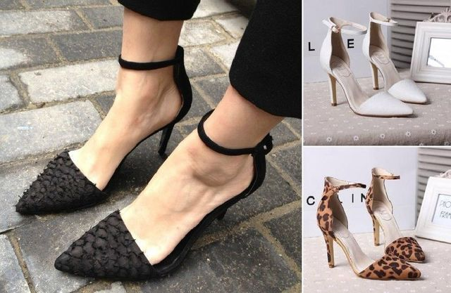 55985d9a4 New Fashion Womens Genuine Real Leather Fish leather High heels Ankle Strap  Office Sandals Big Extra Size Free Shipping