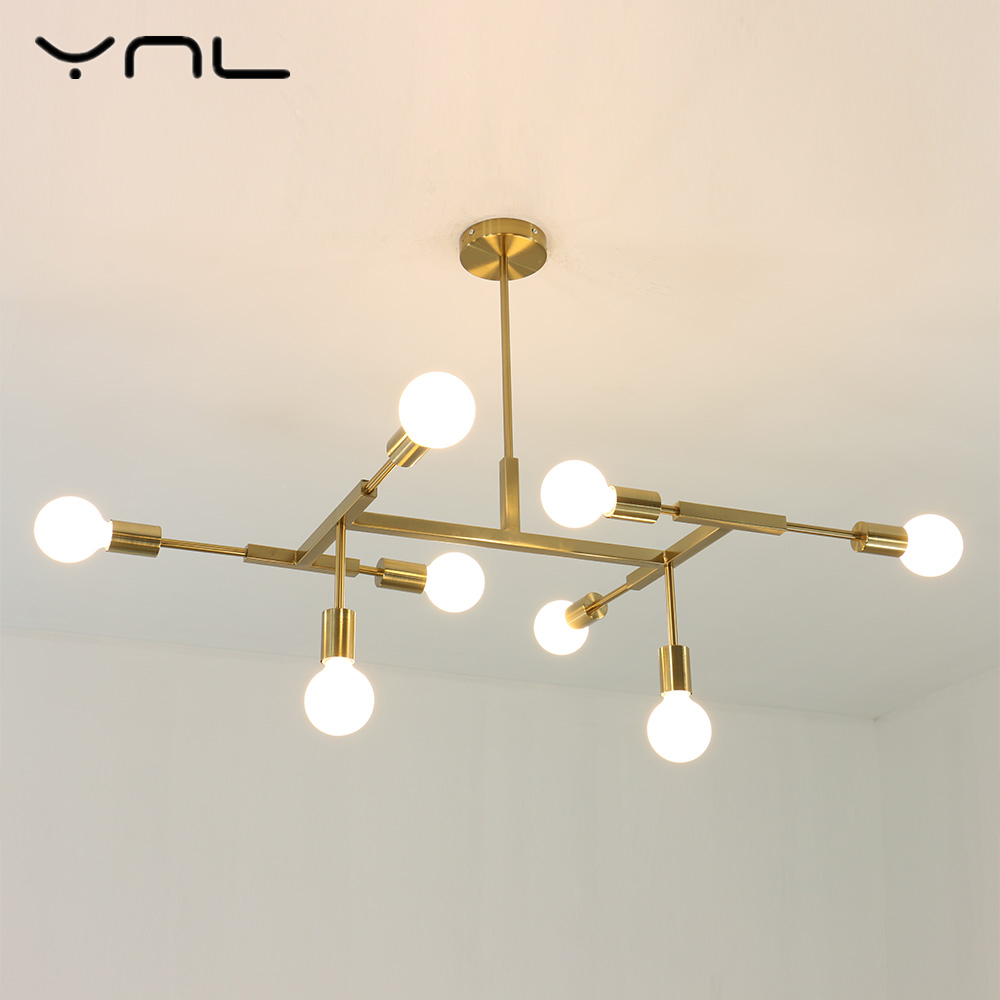 LED Pendant Lights E27 Gold Modern Nordic Loft 8 Heads light bulb living room dinning room bedroom decor Edison bulb LED Lamp modern e27 led bulb lotus shape chandelier pendant ceiling lamp shade hanging light lampshade diy home living room bedroom decor