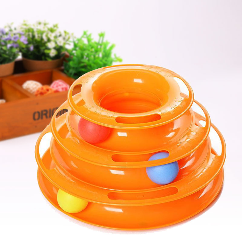 Plastic Three Levels Tower Tracks Disc Cat Toy Shelf Play Station Orange