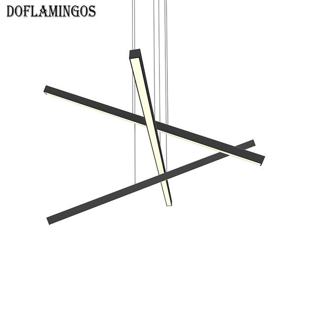 US $168 88 |2018 NEW Modern line Chandelier Bamboo Droplight Black White  color designer lighting For Home Hotel Show -in Pendant Lights from Lights  &