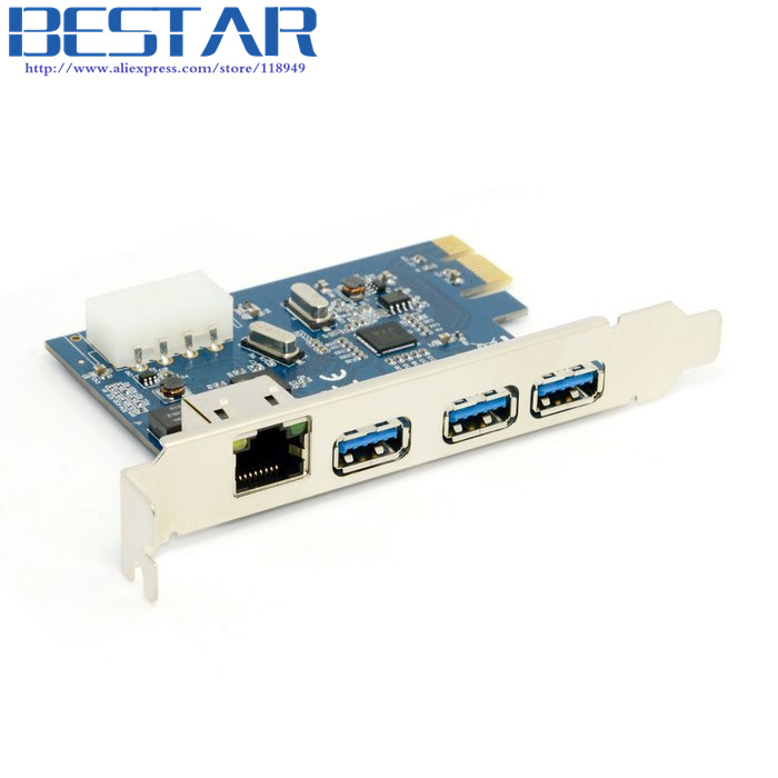 Gigabit Ethernet Network LAN & 3 Port USB 3.0 USB3.0 to PCI-E PCIE PCI EXPRESS Card PC Adapter Converter usb 3 0 1000mbps gigabit ethernet adapter usb to rj45 lan network card 3 port usb3 0 hub for windows 7 8 10 vista xp macos pc