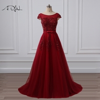 ADLN Scoop Cap Sleeve A Line Formal Evening Dress With Beads Vestidos De Fiesta Long Special