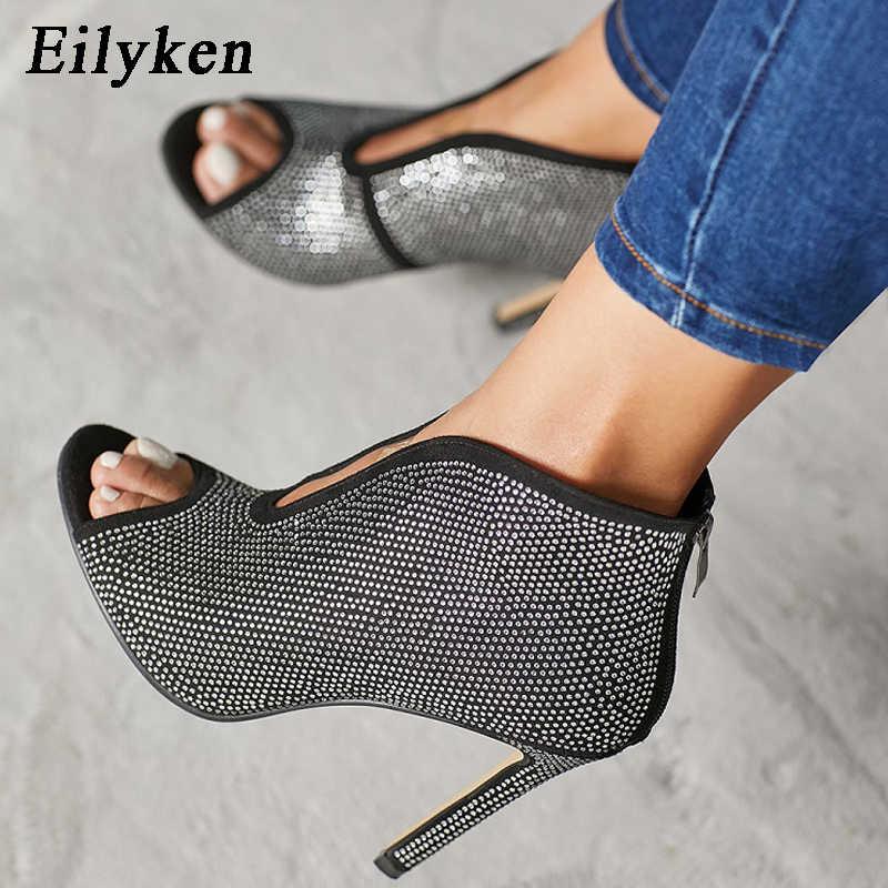 67a9566db Eilyken Open toe heel Women Sandals Ankle Boots Designer Cut Out V Flock  Pumps Stilettos Zipper