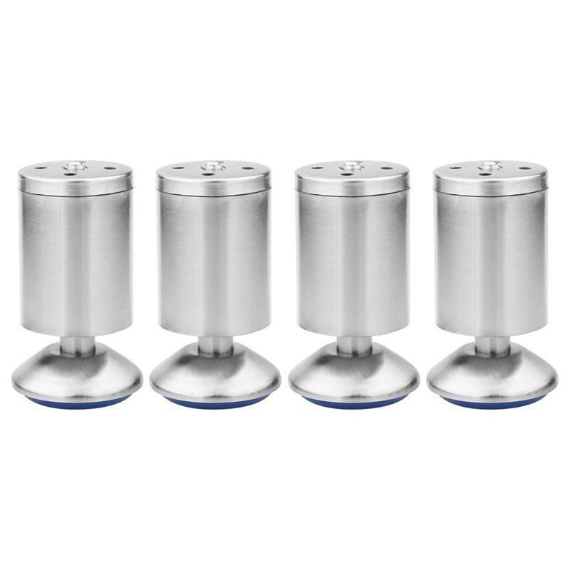 Ev Dekorasyonu'ten Mobilya Bardakları'de 4'ler Yüksekliği Ayarlanabilir Paslanmaz Çelik Gümüş mobilya masa Yatak Kanepe Ayakları için Kauçuk Paspas Dolap Ayakları (50x100 MM) title=