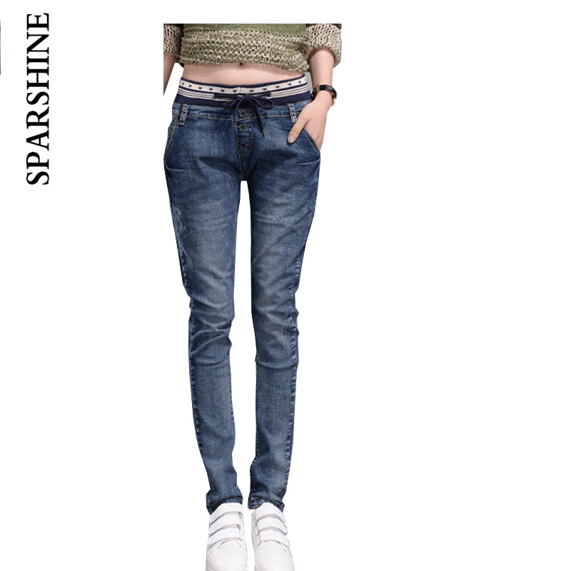 Women Elastic Pencil Pants Young Girls Washed Slim Vintage Jeans Female Full Length Mid Waist Pants