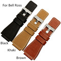 High-Quality Genuine leather 35mm*25mm Buckle Size 24mm Black Brown Khaki Men's Watchband Watch Strap For  Bell&Ross