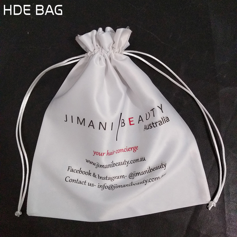 30*33cm snow white satin hair bag high grade silk hair vigs packing bags makeup tools storage pouch cosmetic bag