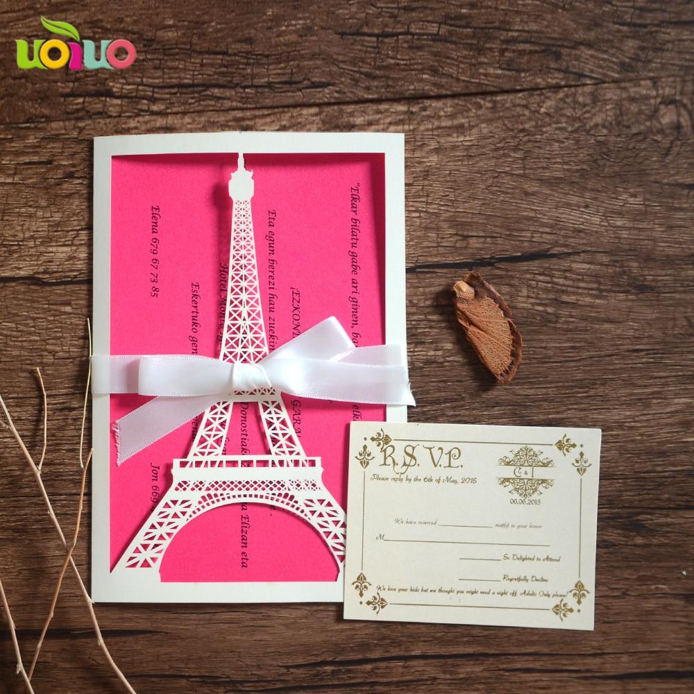 40 19 15 De Descuento Envío Gratis Corte Láser La Torre Eiffel Proveedor De China Tarjeta De Invitación De Boda 18 Años Tarjeta De Invitación De