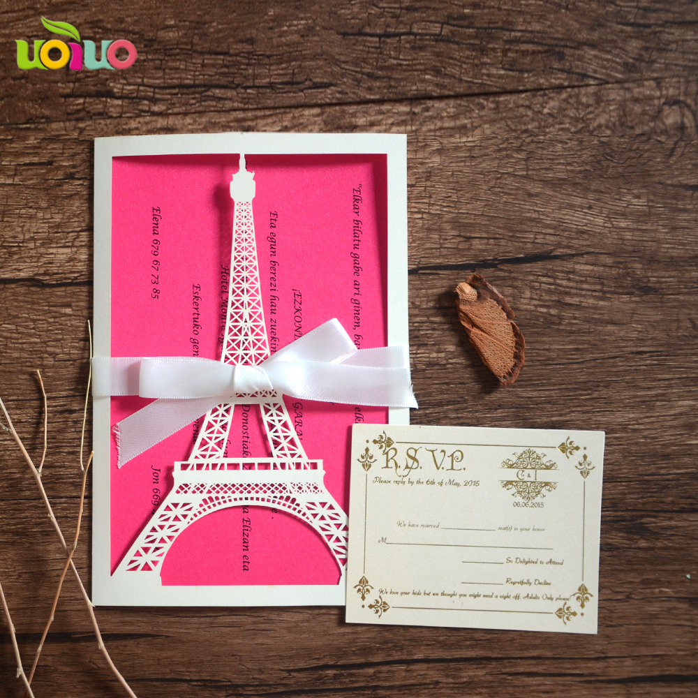 Free shipping Laser cut The Eiffel Tower china supplier wedding invitation card 18 years