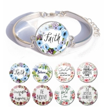 Bible Verse Jewelry Glass Cabochon Silver Plated Charm Bracelet Women Fashion Accessories