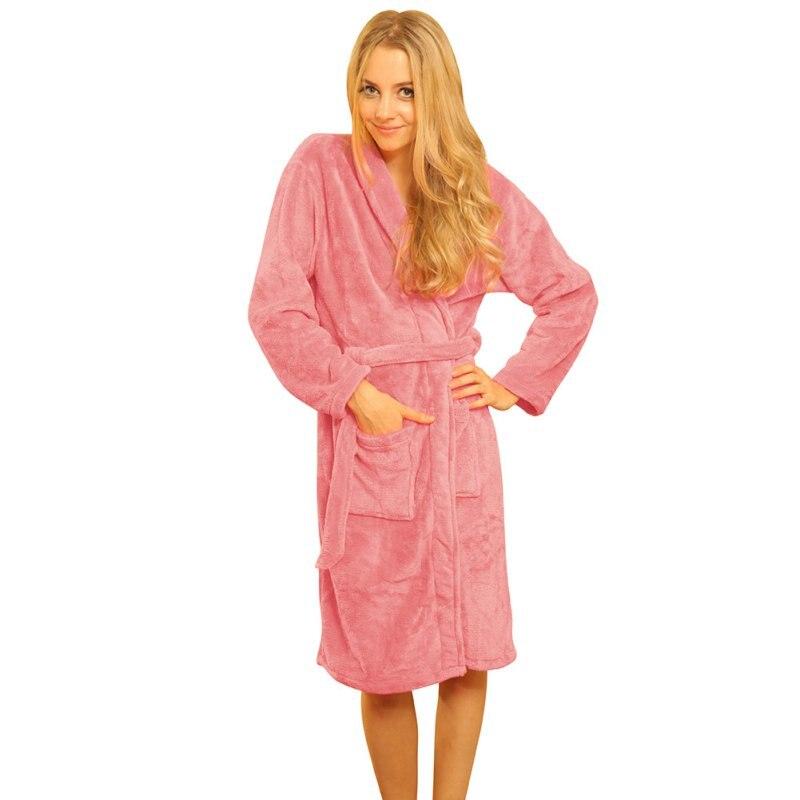 Women Soft Warm Coral Fleece Long Bathrobe Winter Kimono Flannel Bath Robe  Nightgown Shawl Collar Dressing Gown Sleepwear Spa 084ee450e