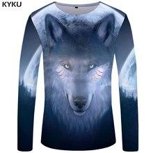 KYKU Wolf T shirt Men Long sleeve Galaxy Tee Dream Rock Animal Japan 3d T-shirt Streetwear Mens Clothing Fashion Man