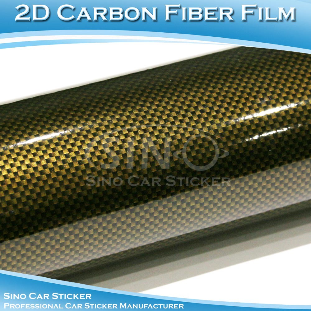 1.52x30M 5x98FT Gold-Black 2D Carbon Fiber PVC Vehicle Coverring  Films
