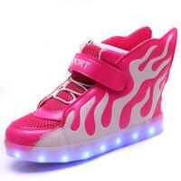 Hot 2016 Sale Fashion Sneaker Baby Boys Girls Led Shoes Kids Sport Flash Sneaker Children Footwear
