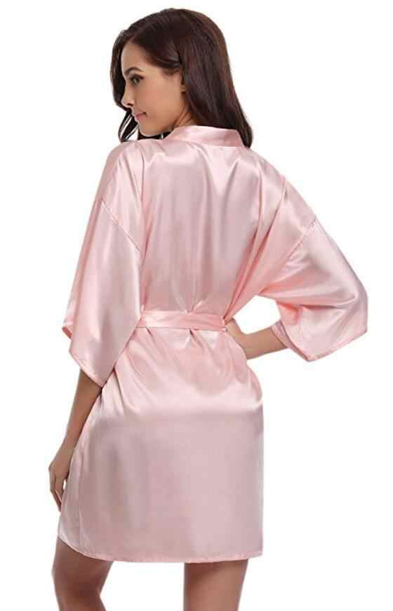 RB032 2018 Baru Sutra Kimono Jubah Mandi Wanita Sutra Bridesmaid Jubah Sexy Navy Jubah Biru Satin Jubah Wanita Berpakaian Gaun