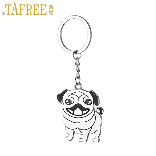 TAFREE Cute Pug Dog Key Chain Animal Keyring Holder Stainless steel Metal Pendan