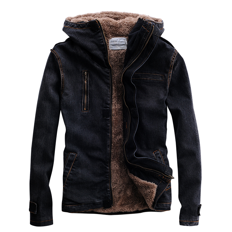 TANG 2019 For MaleWinter Denim Jacket Hooded Fur Lined Black Motorcycle Biker Style Designer Fleece Thicken Warm Jean Coat