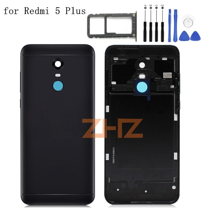 Original For Xiaomi Redmi 5 Plus Battery Back Cover Redmi 5Plus Rear Door Housing + Side Key Card Tray Holder Repair Parts