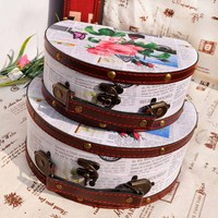 2pc Wooden Storage Box Floral Print Half Round Shape Holder Desktop Bins Boxs Treasure Jewelry Organizer Small Objects Container