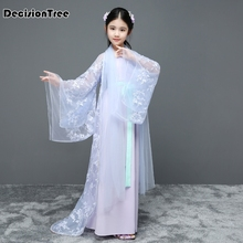 цена на 2019 new children traditional ancient chinese costume silk clothing girls hanfu chinese dance costumes kids tang fairy dress