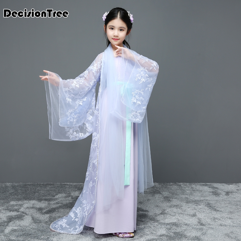 2019 new children traditional ancient chinese costume silk clothing girls hanfu chinese dance costumes kids tang fairy dress