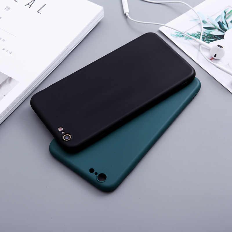 Permen Warna Silikon Case untuk iPhone X XS Max XR Kasus Silikon Lembut TPU Matte Warna Kembali PENUTUP UNTUK iPhone 8 7 6 6 S PLUS 5 5S SE