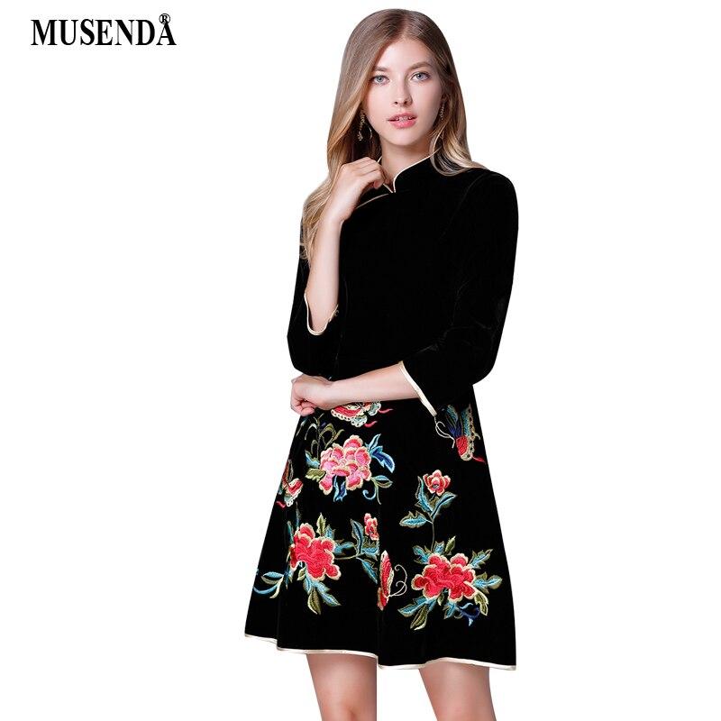 MUSENDA grande taille femmes élégant noir broderie florale robe 2018 automne femme dames Vintage robes de soirée Vestido vêtements