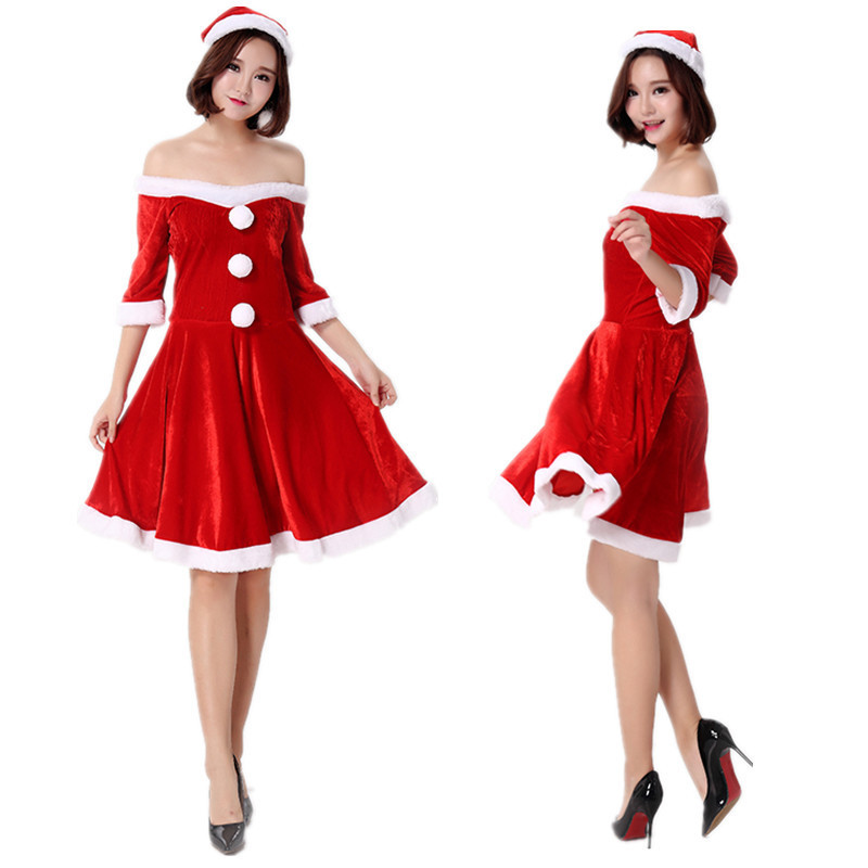 2018 high quality Little Red Riding Hood Santa dress costume cosplay party adult wear a word shoulder