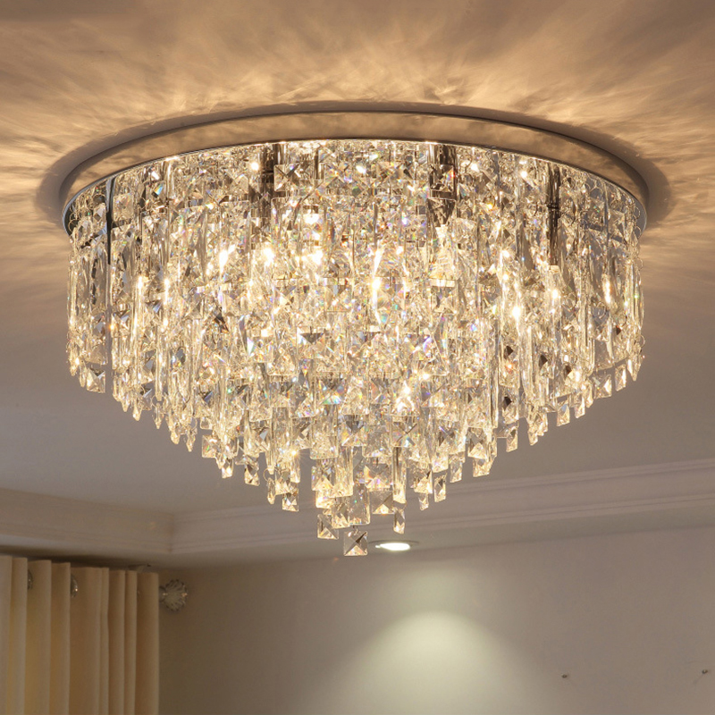 Modern Simple Plated Crystal Lustre Ceiling Lights E14 220V LED Plafonnier Ceiling Lamp For Living Room Bedroom Restaurant Hotel