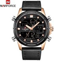 Naviforce Mens Quartz Digital   Watch   Luxury Leather Fashion Sport Wristwatch   Watches   Clock Male relogios