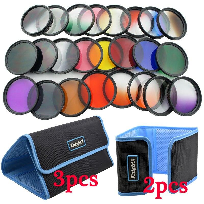 KnightX 24 pcs Couleur Lentille Filtre Rouge ND Pour Canon nikon d3200 d3300 d5500 d5300 1200D 750D Caméra 52mm 58mm 52 58mm