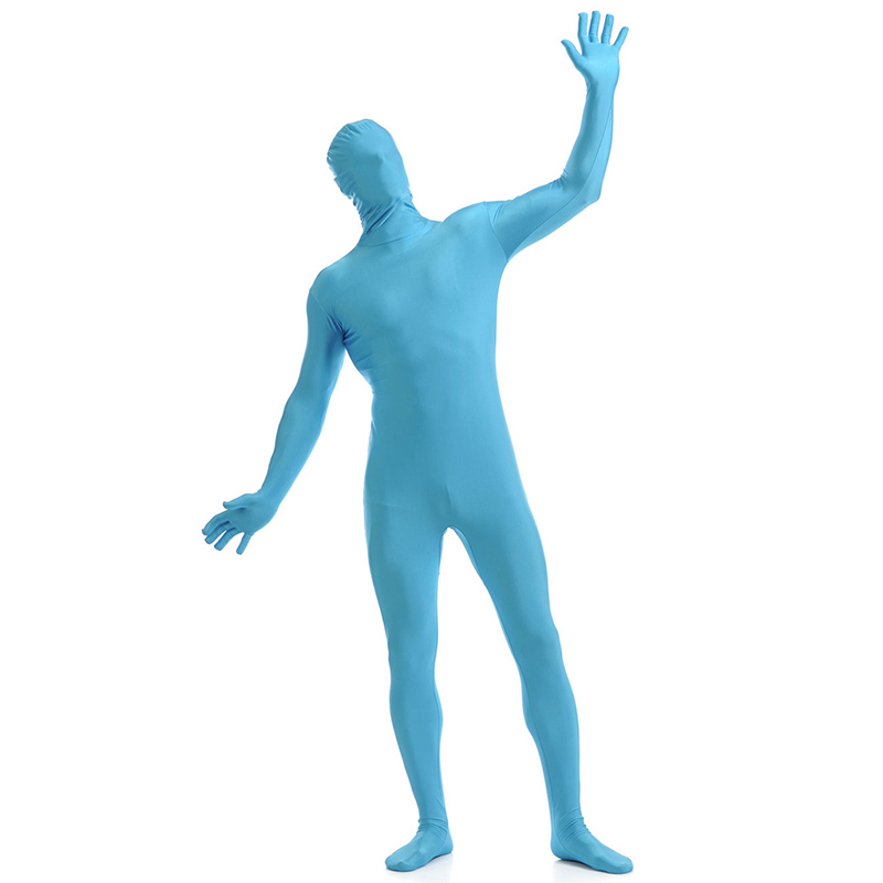 Ainclu 24 hours Light Sky Blue Lycra Spandex Zentai Suit for Men Halloween Jumpsuit Romper Rush order/Same day shipping