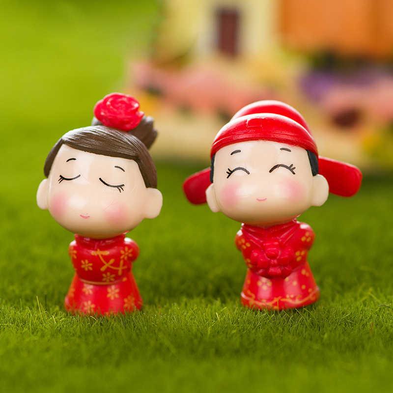 Os Amantes Do Noivo Da Noiva De Fadas Em Miniatura chinesa Jardim Casas Casa Decoração Minecraft Micro Paisagismo Decoração DIY Acessórios