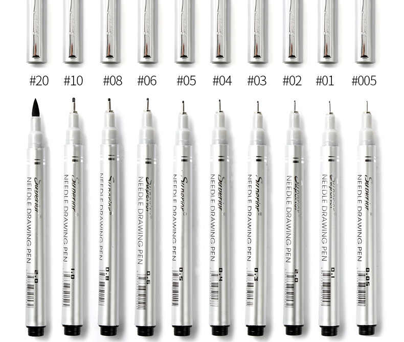 Pigma Micron Pen Finliner Graphic design 005 01 02 03 05 06 08 1 2 Needle Drawing Marker pen