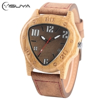 Mężczyźni Sport Odwrócony Trójkąt Bambusa Drewniane Zegarki Red Giełda samochodowa Wrist Watch Quartz Retro Handmade Drewno Zegarki Reloj
