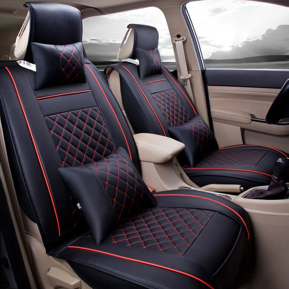 Leather Car Seats >> Details About Standard Edition Pu Leather Car 2 Front Seat Cover Cushion Mat For 5 Seats Car