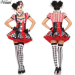 Adult Funny Harley Quinn Cosplay Womens Harlequin Fancy Dress Clown Circus Party Gown Cosplay Joker Clothing Halloween Costume(China)