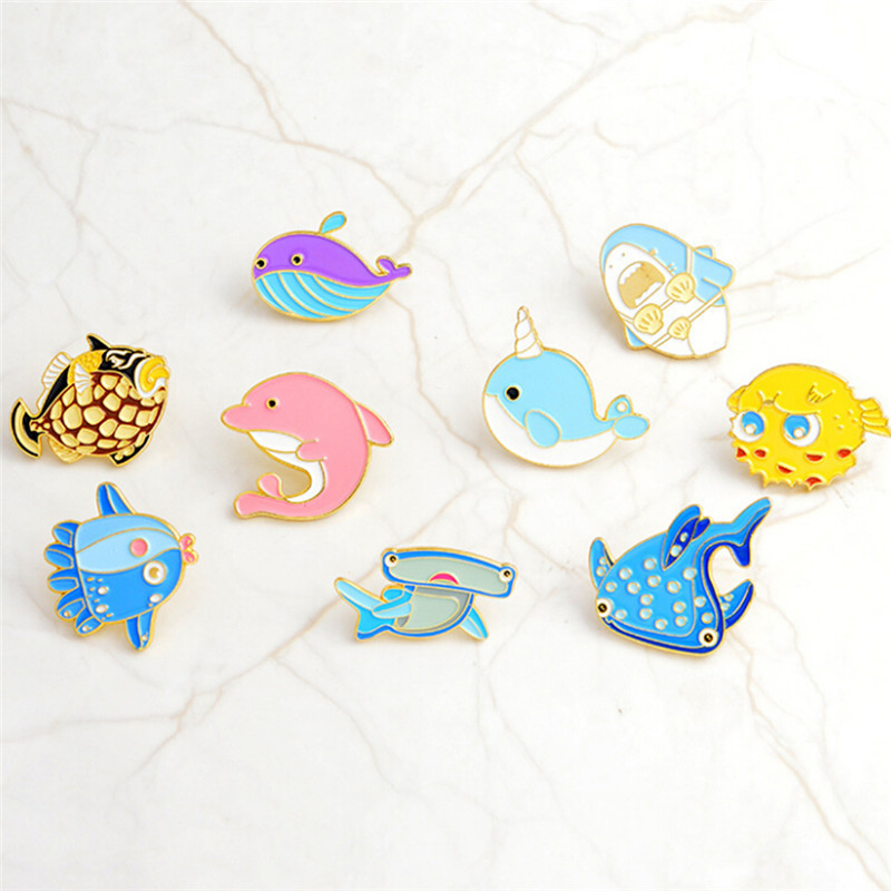 1pcs Sea Cuties Pin Whale Shark Narwhal Octopus Puffer Fish Hard Enamel Pin Lapel Pin Brooches Badges Pinback Top Watermelons Jewelry & Accessories Jewelry Sets & More