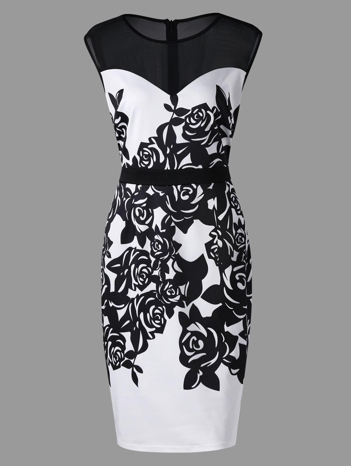 Vestidos Women Patchwork Floral Print Elegant Business Party Formal Office Plus Size Bodycon Pencil Casual Work Dress