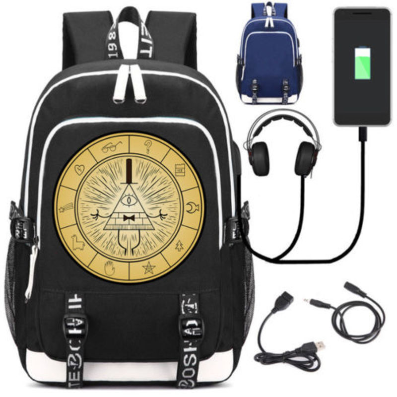все цены на New Anime Gravity Falls Bill School Backpack USB Charge Interface Laptop Travel Bag Unisex Black Shoulder Travel Bags