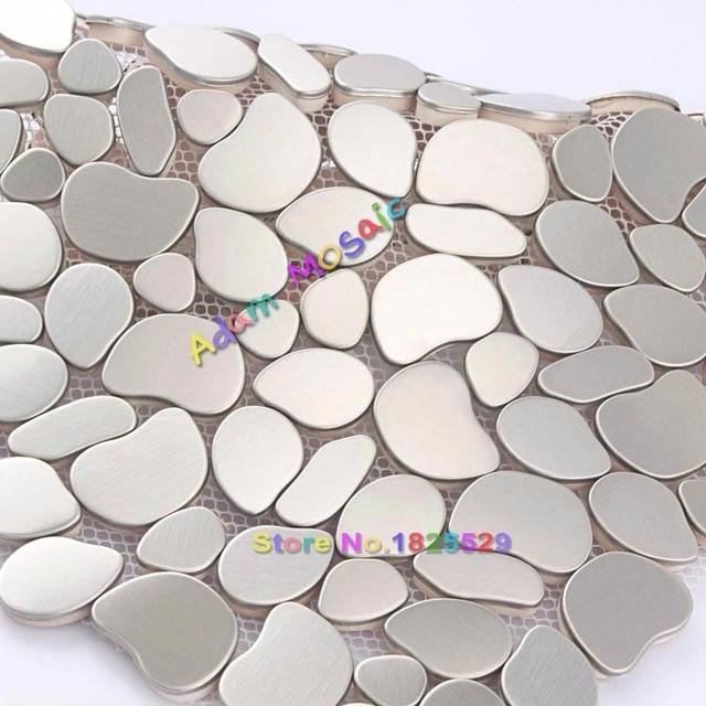 Edelstahl Backsplash Fliesen Silber Küche Metall Mosaik Pebble ...