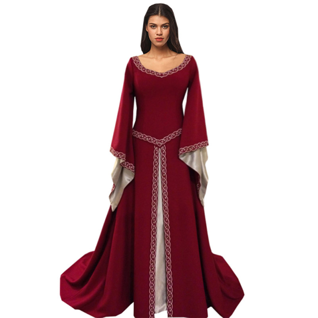 US $32 31 |Brand Women's Red Blue Medieval Renaissance Victorian Dresses  Medieval Renaissance Costumes Ball Gown Ball Gowns Dresses-in Dresses from