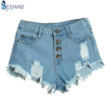EFINNY Summer Sexy Women's Irregular High Waisted Shorts Slim Fit Denim Jeans Shorts Worn Loose Burr Hole Jeans Femme