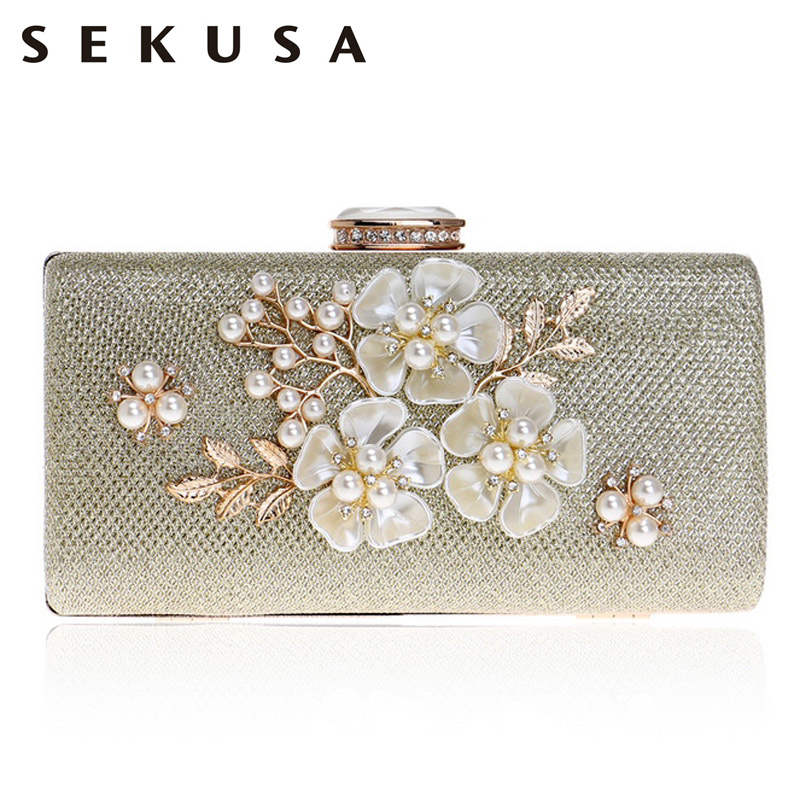 SEKUSA Shell Flower Women Evening Bag Sequined Diamonds Small Party Wedding Handbags For 2017 Female Clutch Purse Bags starfish shell wedding guest book with signing pen for wedding party decor