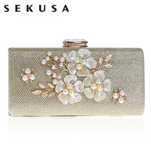 купить SEKUSA Shell Flower Women Evening Bag Sequined Diamonds Small Party Wedding Handbags For 2017 Female Clutch Purse Bags онлайн