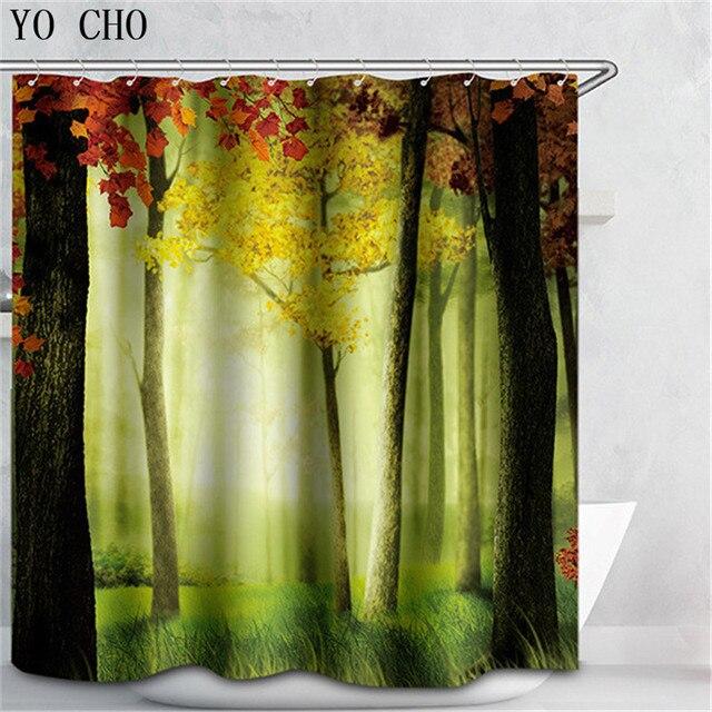 grnen wald landschaft wasserdichte bad vorhang anlagenbaum bambus 3d dusche curtai stoff waschbar vorhang fr badezimmer - Stoff Vorhang Dusche