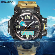 Men Sport Watches BOAMIGO Brand LED Digital Watches Military Quartz Watch Rubber Strap 50M Waterproof Swimming Wristwatch F5100(China)