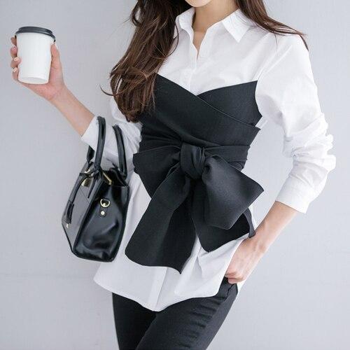 93c9299e4a4 2017 Summer Korean Fashion Tie Shirt Blouse Female Black Bow Long Sleeve  White Shirt OL Lady