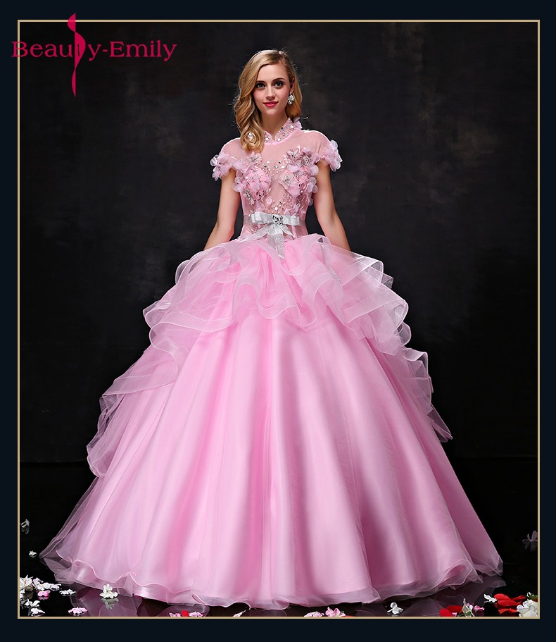 Գեղեցկուհի Էմիլի Pink Long Ball Gown Quinceanera - Հատուկ առիթի զգեստներ - Լուսանկար 1