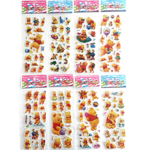 6 Sheets/lot 3D Cartoon Stickers For Winnie Poohs Kids Toys Bubble Stickers Teacher Reward PVC Baby Toys Christmas Gift